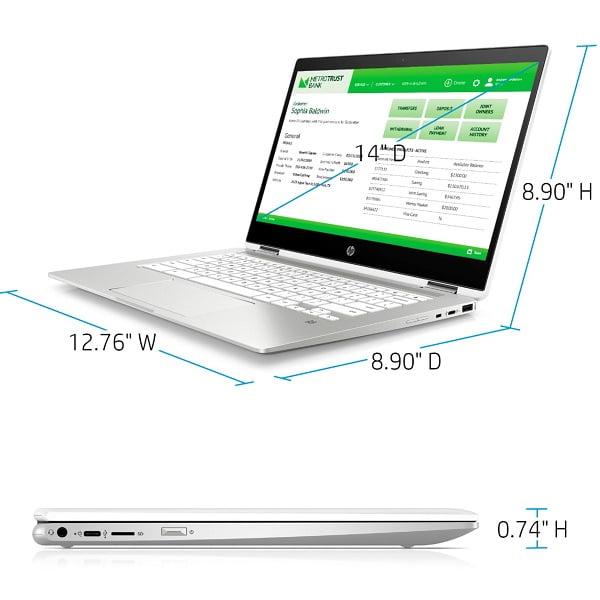 HP 14B CA0013DX Chromebook 2 in 1 Intel Celeron 4GB 32GB 14 Touch Screen Ceramic White 2